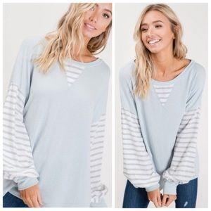 Light blue grey striped top